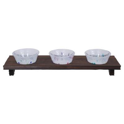 3er-Set Sakebecher aus Glas gepunktet