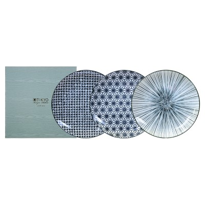 3er-Set Teller - Japan Schwarz, mittel Geschenkverpackung