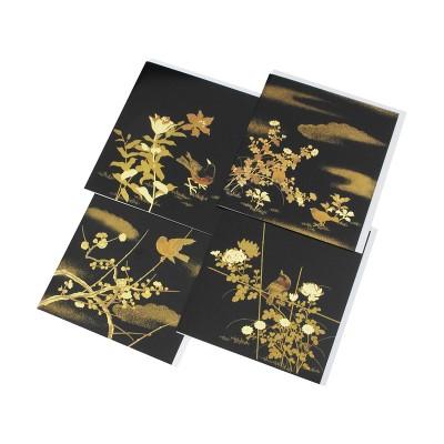4 Briefkarten schwarz Hana