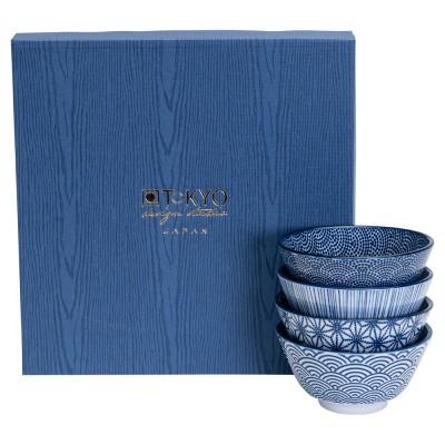 4er-Set Reisschalen - Japan Blau