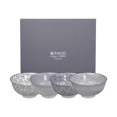 4er-Set Reisschalen - Japan Grau - 12x6,4cm