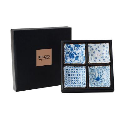 4er-Set Soßenschalen 'Pflanzen – Blau/Weiß' quadratisch 8,5cm