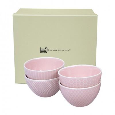 4er-Set Teebecher mit Struktur rosa 9x5,4cm