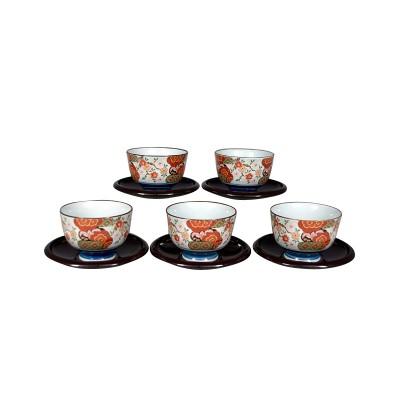 5 Teeschalen mit Untertassen, Nishiki Heian