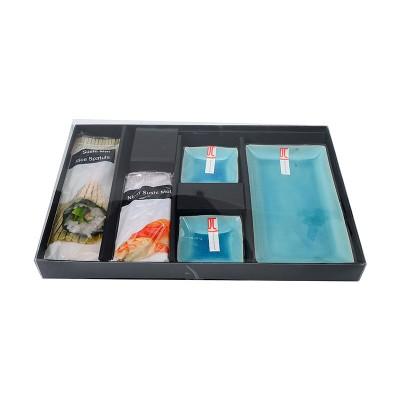 5tlg. Sushi-Set 'Türkise Serie' mit Nigiri-Förmchen und Sushirollmatte