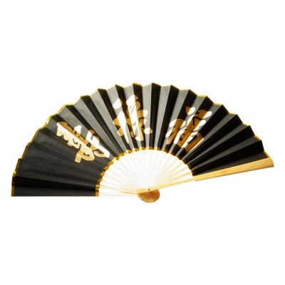 Chinesischer Papierfächer - Schwarz/Gold