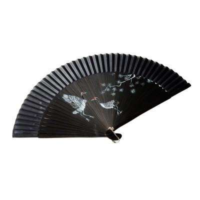 Chinesischer Stofffächer - Kranich