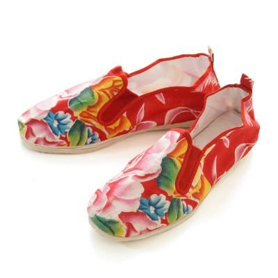 Tai-Chi Schuhe - Blumenmuster Rot