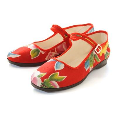 Chinaschuhe Baumwolle - Blumen Rot