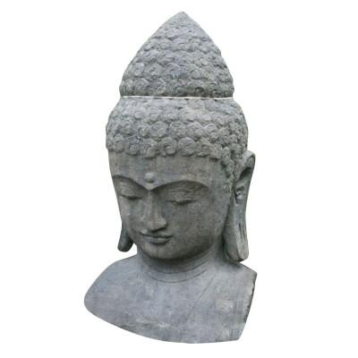 Buddha Büste, aus Lavastein