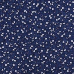 Stoff Kirschblüten dunkelblau