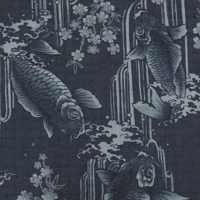 Stoff Koi dunkelblau