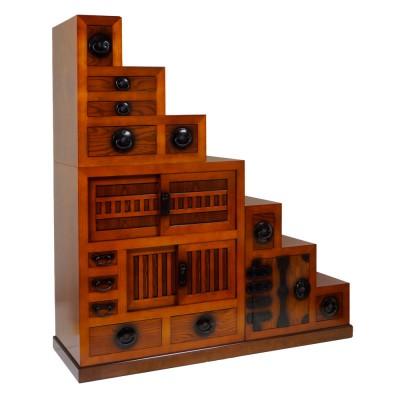 Treppen-Tansu (Kaidandansu) hell 3-teilig variabel