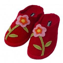 bacinas Damen-Pantoffeln aus Schurwolle mit Filzblume bunt
