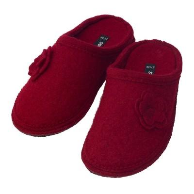 bacinas Damen-Pantoffeln aus Schurwolle mit Filzblume