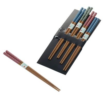 5er Set Essstäbchen Bambus gerillt