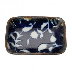 Beilagenteller rechteckig 'Burashi ao - Karahana blau' 9,5x7cm