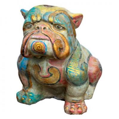 Bulldogge, Steinguß, bemalt