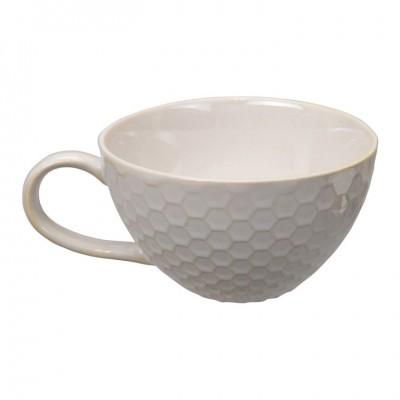 Cappucino Tasse 'Struktur - Kikko - weiß' 17cm