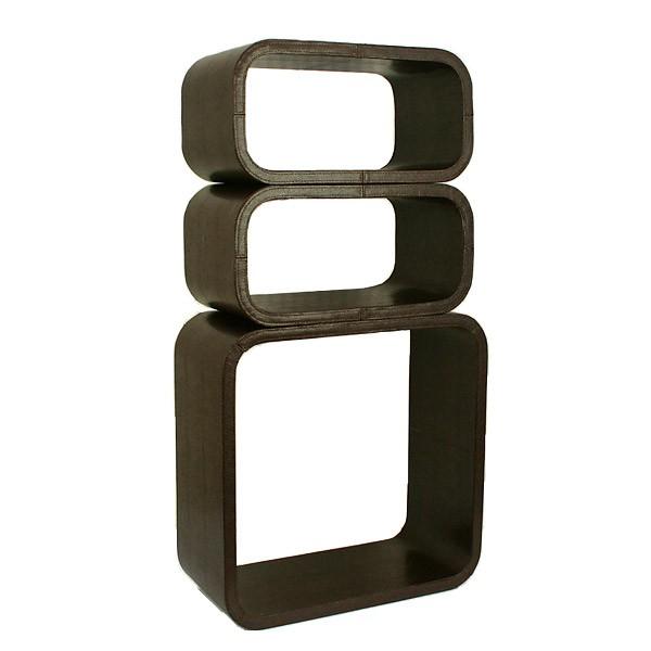 cube wandregal 3er set kunstleder regale wohnen. Black Bedroom Furniture Sets. Home Design Ideas