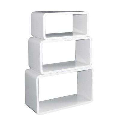 Cube Wandregal 3er Set - Rechteckig dunkelbraun