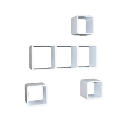 Cube Wandregal 4er Set mit 3er Element