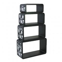 Cube Wandregal 4er Set schwarz mit Muster