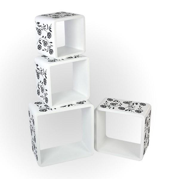 cube wandregal 4er set wei mit muster regale wohnen. Black Bedroom Furniture Sets. Home Design Ideas