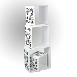 Cube Wandregal 4er Set weiß mit Muster
