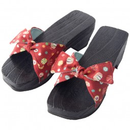 Damen Geta - Holz Sandale mit Absatz rot