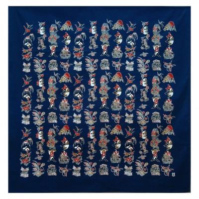 Furoshiki Serizawa Vier Jahreszeiten,bunt 130x130cm,Baumwolle