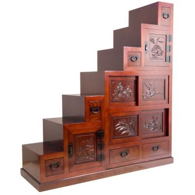 Großer Treppen-Tansu (Kaidandansu) 3-teilig dunkel