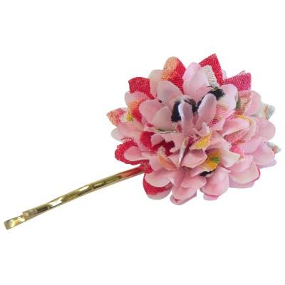 Haar-Pin - Stoffblume pink