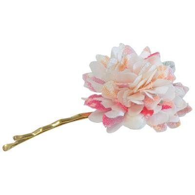 Haar-Pin - Stoffblume weiß
