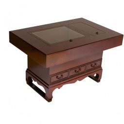 Hibachi Tisch mit drei Schubladen geschwungen