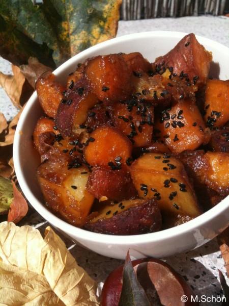 Japanisch Kochen - Daigakuimo: Karamellisierte Süßkartoffeln