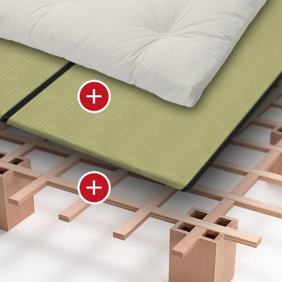 Bett Tojo System + Luxus Futon + Tatami Standard / Spar-Set