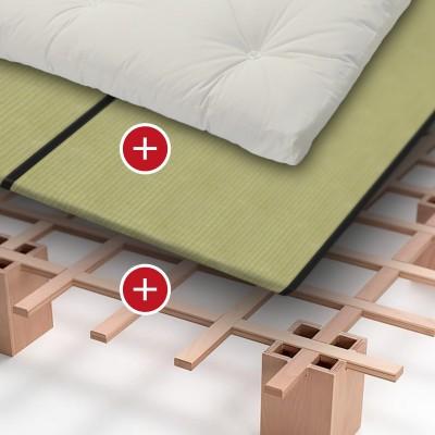 Bett Tojo System + Baumwoll Schafwoll Latex Futon + Tatami Standard / Spar-Set