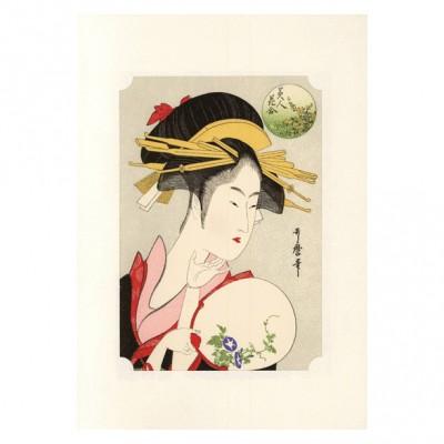 Kunstdruck - Utamaro Bijin und Asagao