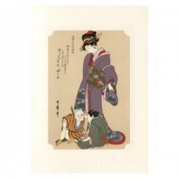 Kunstdruck - Utamaro Bijin und Jungen
