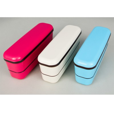 Lunchbox - beige/blau/pink Plastik