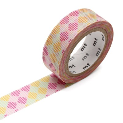 Masking Tape - Checkers Stripe Pink