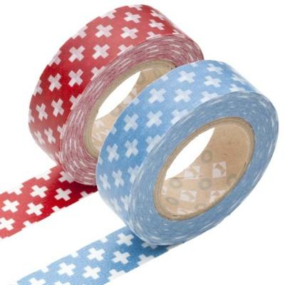 Masking Tape - Cross, red & Cross, blue