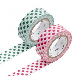 Masking Tape - Dot, bottle green & Dot, red