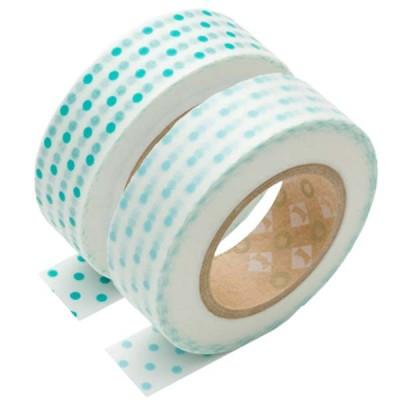 Masking Tape - Dot, turquoise green & Dot, pale blue