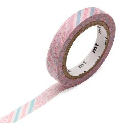 Masking Tape - Pink Flower Stripe