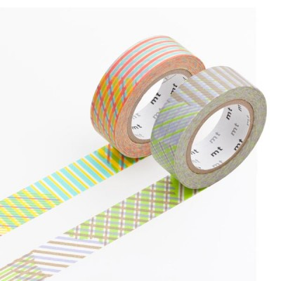 Masking Tape - Stripe checked, red & Stripe checked, green