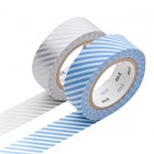 Masking Tape - Stripe, light blue & Stripe, silver