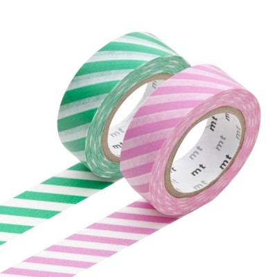 Masking Tape - Stripe, pink & Stripe, green