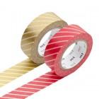 Masking Tape - Stripe, red & Stripe, gold